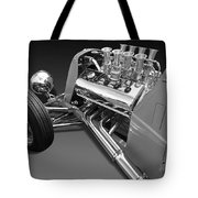 Ford Coupe Hot Rod Engine In Black And White Tote Bag