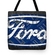 Ford Motor Company Retro Logo License Plate Art Tote Bag