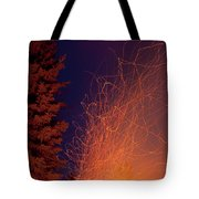 Forest Fire Danger Hot Spark Trails From Campfire Tote Bag