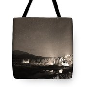 Forest Of Stars Above The Chapel On The Rock Sepia Tote Bag