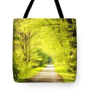 Forest Path In Spring With Bright Green Trees Tote Bag
