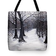 Forest Path In Winter Tote Bag