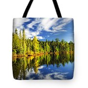 Forest Reflecting In Lake Tote Bag