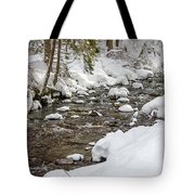 Winter Forest River Tote Bag