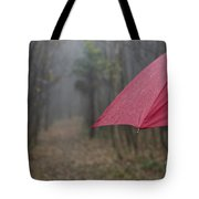 Forest With A Red Umbrella Tote Bag