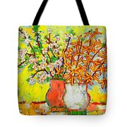 Forsythia And Cherry Blossoms Spring Flowers Tote Bag