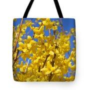 Forsythia On Blue Tote Bag