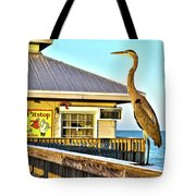Fort Myers Beach Bird On Pier Tote Bag