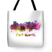 Fort Worth Skyline In Watercolor Tote Bag