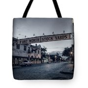 Fort Worth Stockyards Bw Tote Bag