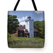 Forty Mile Point Lighthouse In Michigan Number 450 Tote Bag