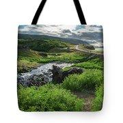 Fossa Waterfall In Hvalfjordur, Iceland Tote Bag