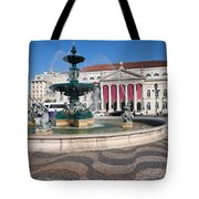 Fountain And Theater On Rossio Square In Lisbon Tote Bag