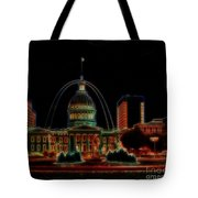 Fountain At City Garden In Neon Framed Tote Bag