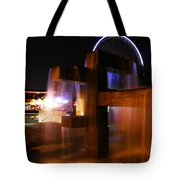 Fountain Foreground The Seattle Ferris Wheel Tote Bag