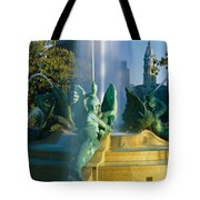 Fountain In Front Of A Building, Logan Tote Bag