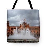 Fountain On Plaza De Espana. Seville Tote Bag by Jenny Rainbow