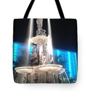 Fountain Square At Night Tote Bag