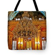 Four And One-half Ton Crystal Chandelier In Ceremonial Hall In Dolmabache Palace In Istanbul-turkey  Tote Bag