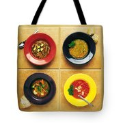 Four Dishes Of Different Food Tote Bag