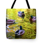 Four Ducks On Pond Tote Bag