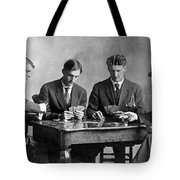 Four Men Playing Cards Tote Bag