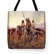 Four Mounted Indians Tote Bag