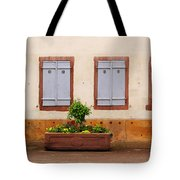 Four Pale Blue Shutters In Alsace France Tote Bag