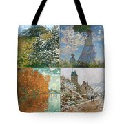 Four Seasons A Collage Of Monets Tote Bag