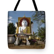 four sitting Buddhas 30 metres high looking in four points of the compass at Kyaikpun Pagoda Tote Bag