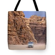 Four Wheel Drive Vehicles At Wadi Rum Jordan Tote Bag