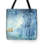 Foxes In The Snow Tote Bag