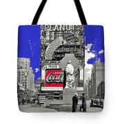 Fr. Duffy Statue Prior To Unveiling Coca Cola Sign Times Square New York City 1937-2014 Tote Bag