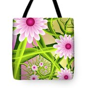 Fractal Fantasy Neon Flower Garden Tote Bag