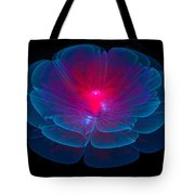 Fractal Flower Blue And Red Tote Bag