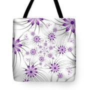 Fractal Purple Flowers Tote Bag