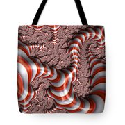 Fractal Red And White Tote Bag