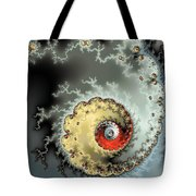 Fractal Spiral Design Grey Khaki Red Tote Bag