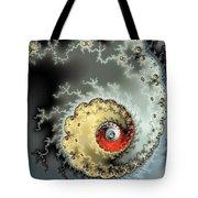 Fractal Spiral Design Grey Khaki Red Tote Bag