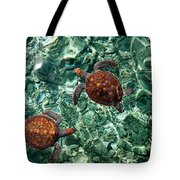 Fragile Underwater World. Sea Turtles In A Crystal Water. Maldives Tote Bag by Jenny Rainbow