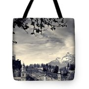 Framed View Of Salzburg From Kapuzinerberg Tote Bag