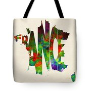 France Typographic Watercolor Map Tote Bag