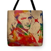 Frank Sinatra Watercolor Portrait On Worn Distressed Canvas Tote Bag