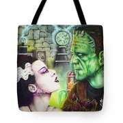Frankenstein And The Bride Tote Bag