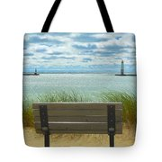 Frankfort Lighthouse Front Row Seats Available Tote Bag