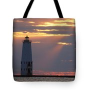 Frankfort North Breakwater Lighthouse Tote Bag