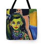 Franzi In Front Of Carved Chair Tote Bag