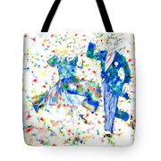 Fred Astaire And Ginger Rogers Watercolor Portrait Tote Bag