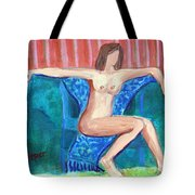 Dare To Be Bare In A Big Green Chair Tote Bag