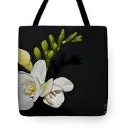 Freesia On Black Tote Bag